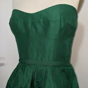 J.Crew Strapless Cotton Silk Dress 8 Green Peplum